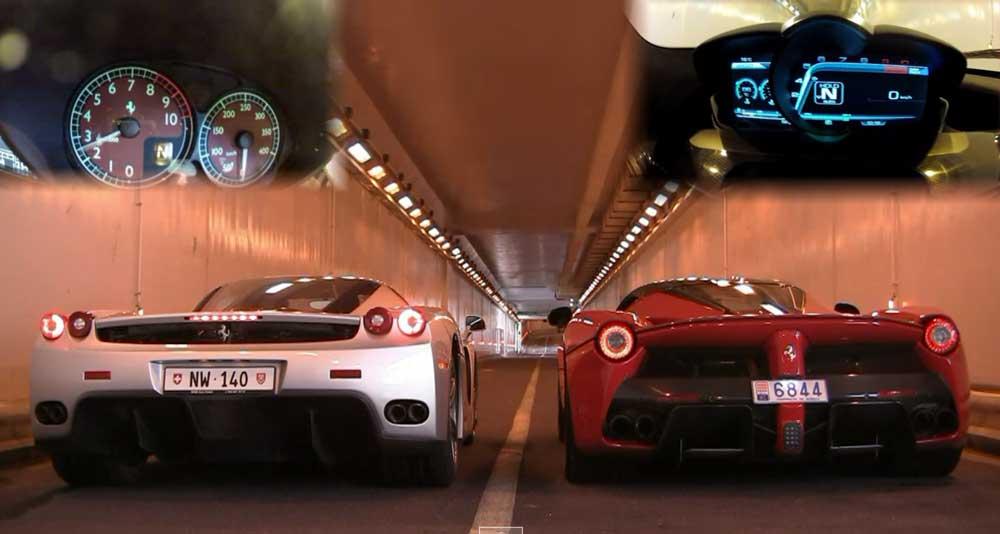 うるせーw ラ・フェラーリとエンツォフェラーリがトンネル内で空吹かし対決