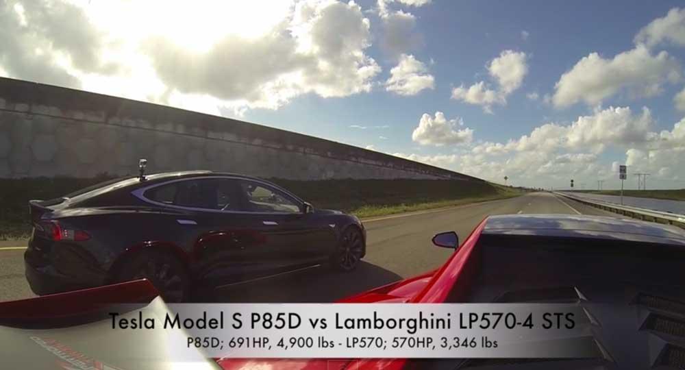電気自動車速いじゃん! テスラ モデルS P85Dとランボルギーニ・ガヤルドLP570-4スーパートロフェオ・ストラダーレがドラッグレース