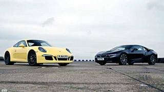 【動画】BMW i8 VS ポルシェ911カレラ4 GTS エンジン音最高w レースで速いのはどっちだ?